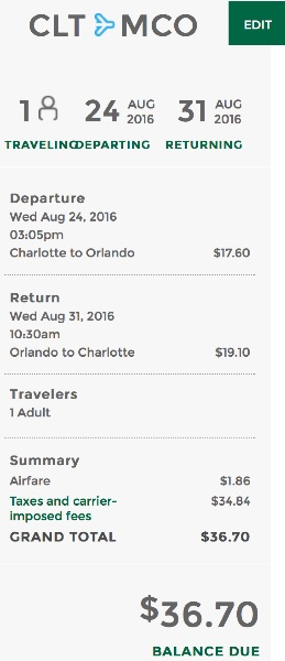 Charlotte to Orlando