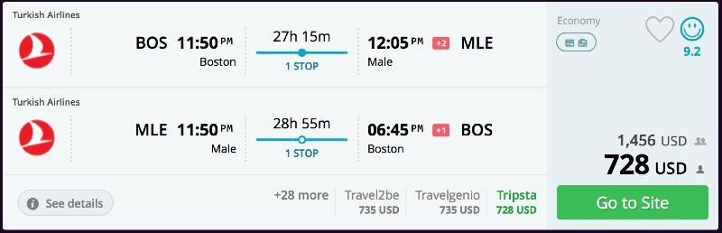 Boston To Maldives From 728 R T Turkish Air Qatar Air