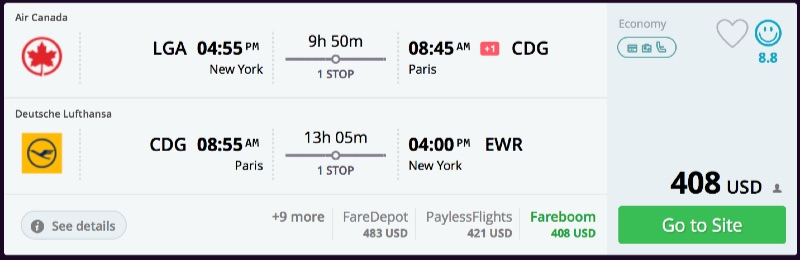 New york to paris flights momondo for Flights to paris from new york