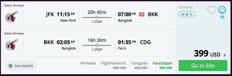 Open jaw usa to bangkok or kuala lumpur and to paris or for Flights to paris from new york