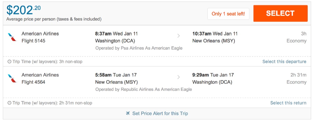 Rental Car Deals New Orleans Washington to New Orleans and vice versa for $202 R/T nonstop [AA]