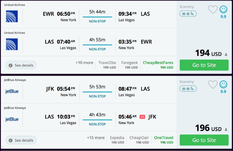 New York To Las Vegas And Vice Versa For 194 R T Nonstop