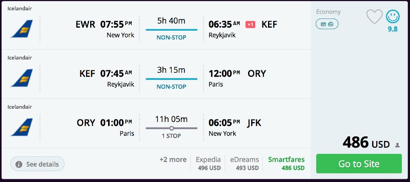 Newark to iceland then to copenhagen or london or paris or for Flights to paris from new york