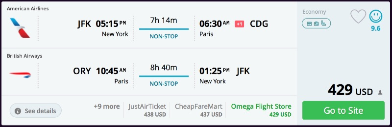 Nonstop new york to paris france from 415 r t for New york to paris flights