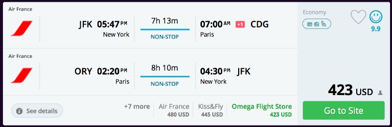 New york to paris france from 387 r t nonstop for Flights ny to paris