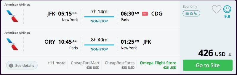 Nonstop via aa new york or philadelphia to paris france for New york to paris flights