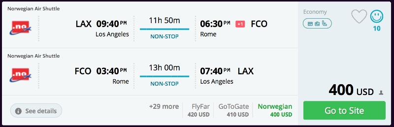 Los Angeles To Rome Italy For 400 R T Nonstop Norwegian